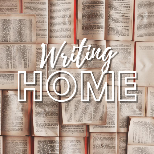 """A logo of book pages with text """"Writing Home"""" in cursive script"""